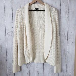 Talbots cable knit sweater, white medium petite